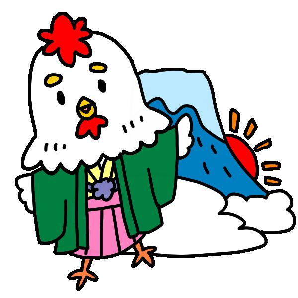 とりと富士山のイラスト