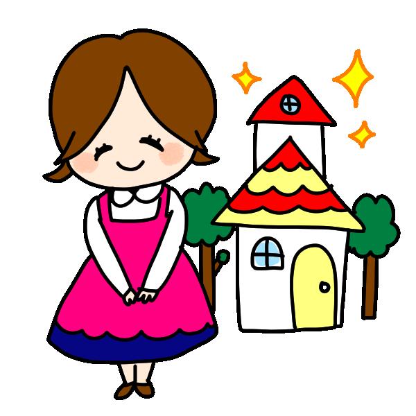 引っ越しする女の子のイラスト