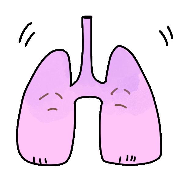 弱った肺たちのイラスト