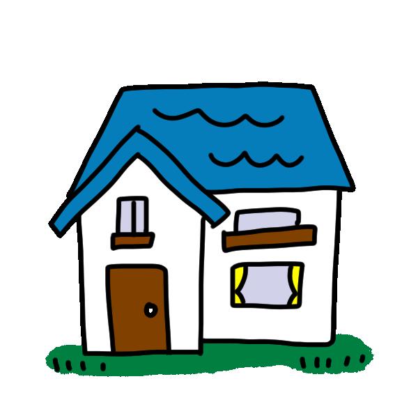 青い屋根のお家のイラスト