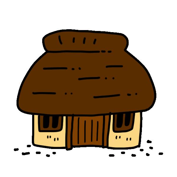 かやぶき屋根のお家のイラスト