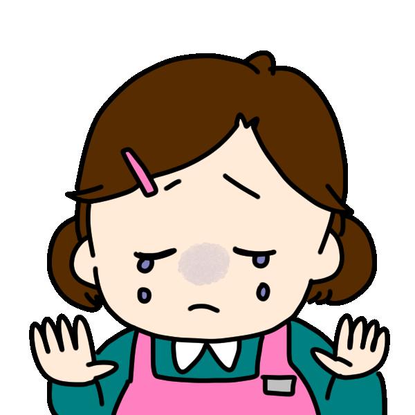 哀しい顔の介護士のイラスト
