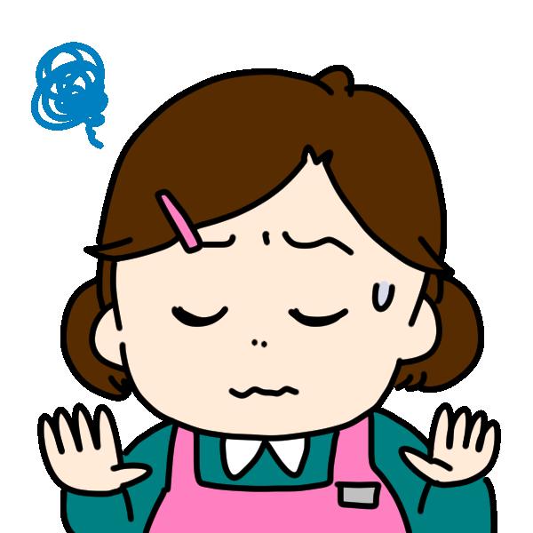 困った顔の介護士のイラスト
