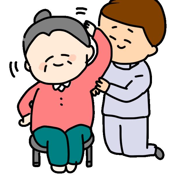 座って体操するおばあちゃんのイラスト