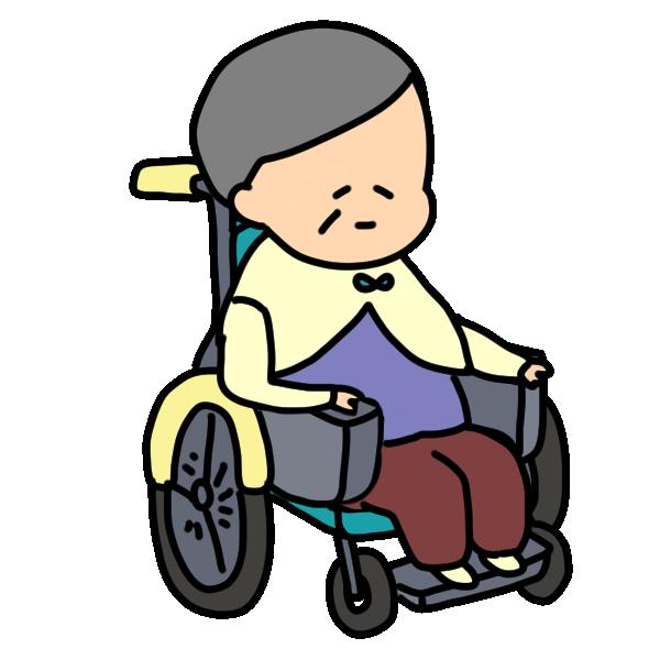 車いすに乗るおばあちゃんのイラスト