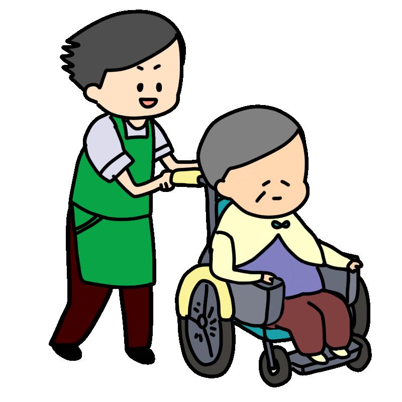 介護士と車いすのおばあちゃんのイラスト