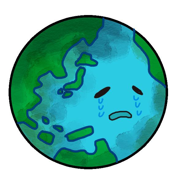 弱った地球のイラスト