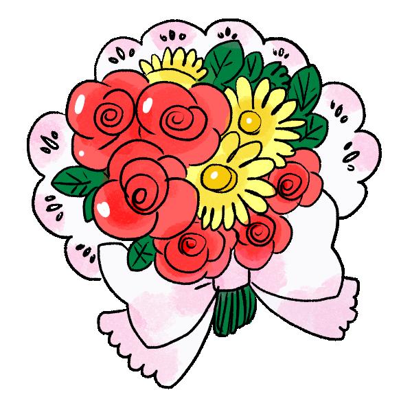 花束のブーケのイラスト