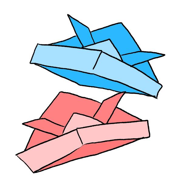 折り紙かぶとのイラスト