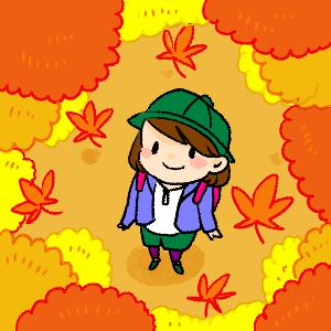 紅葉をさがしてのイラスト