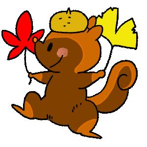 リスと紅葉のイラスト