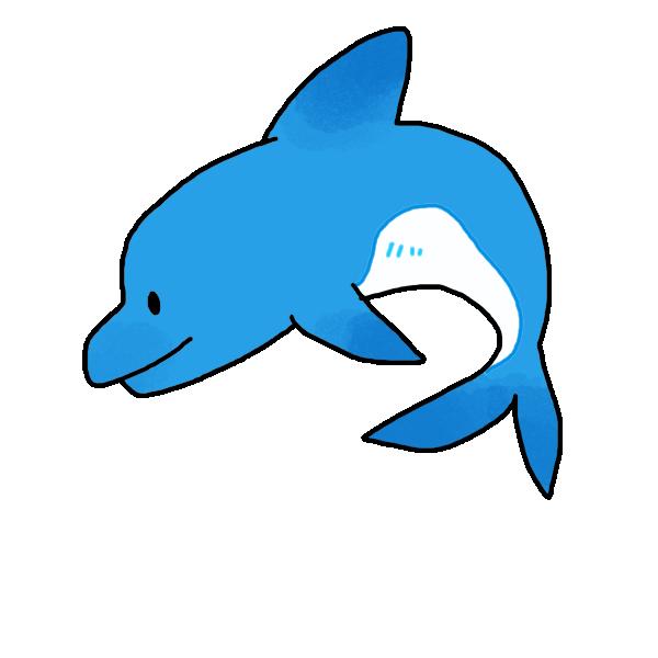 青いイルカのイラスト