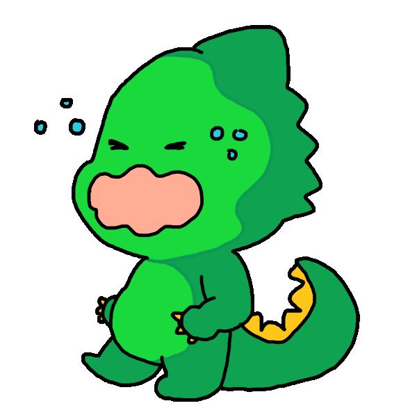 泣いてる顔の恐竜のイラスト