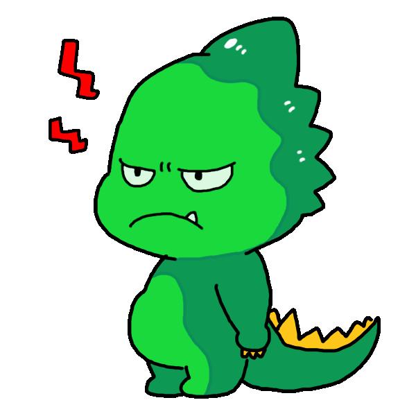 怒ってる顔の恐竜のイラスト