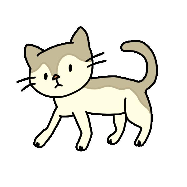 歩いてる猫のイラスト