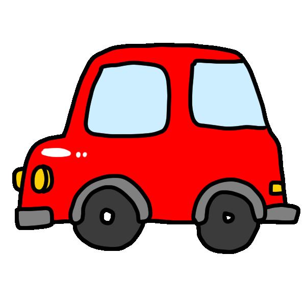赤い乗用車のイラスト