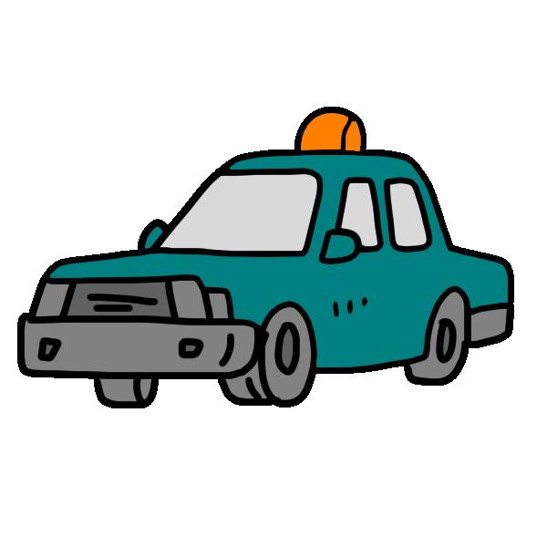 タクシー緑のイラスト
