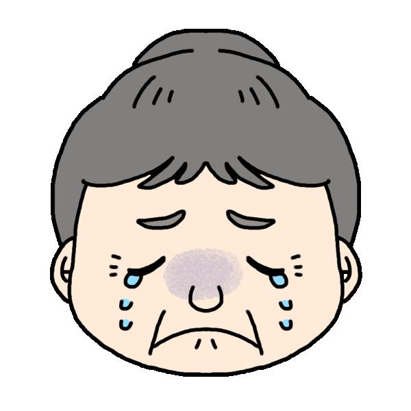 おばあちゃんの泣いた顔のイラスト