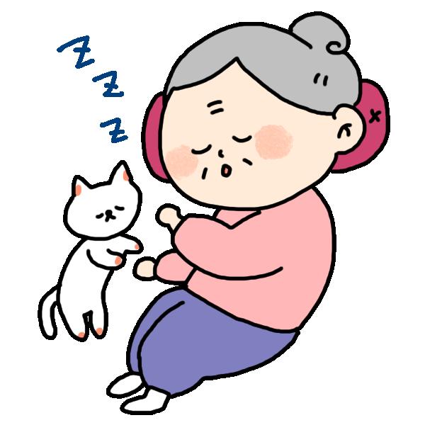 昼寝するおばあちゃんのイラスト