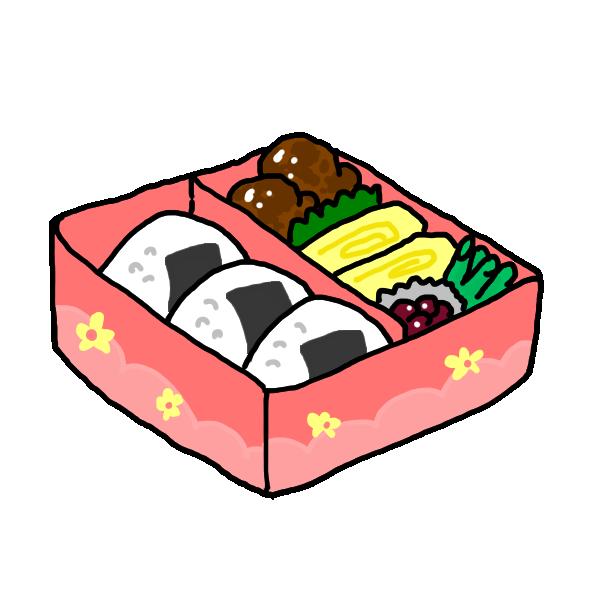 ピンクのお弁当のイラスト