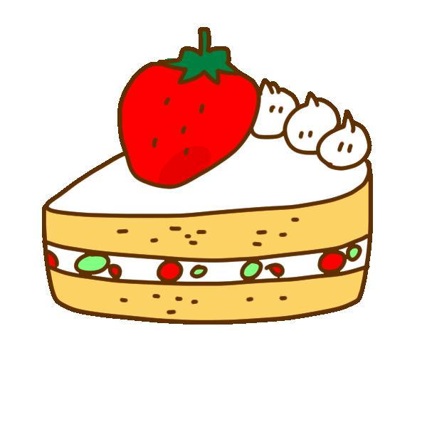 イチゴのケーキのイラスト