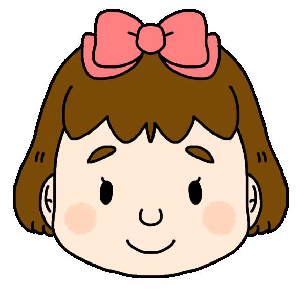 女の子のふつうの顔のイラスト