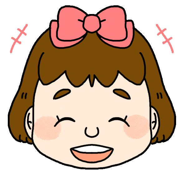 女の子の笑った顔のイラスト