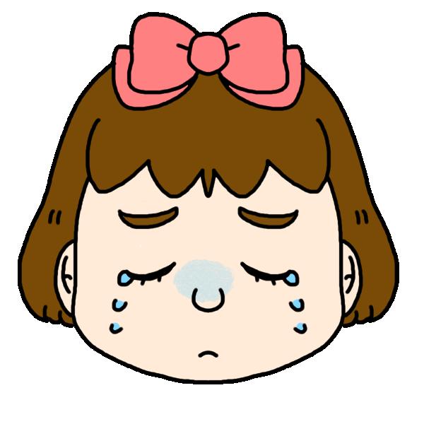 女の子の泣いた顔のイラスト