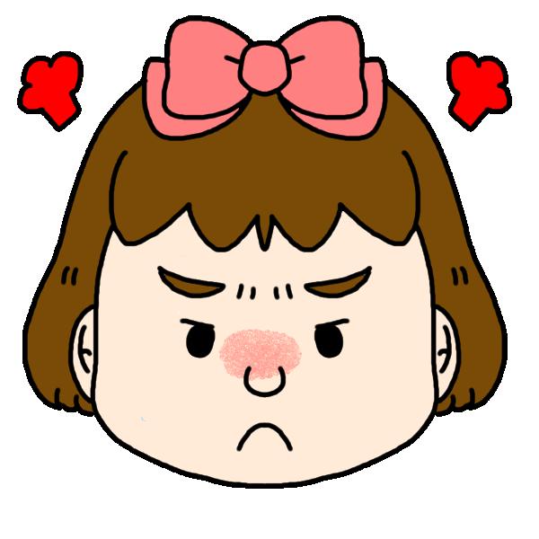 女の子の怒った顔のイラスト