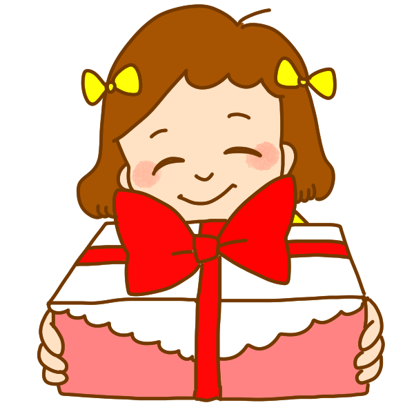 プレゼントをもつ女の子のイラスト
