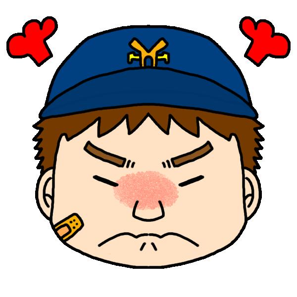 男の子の怒った顔のイラスト