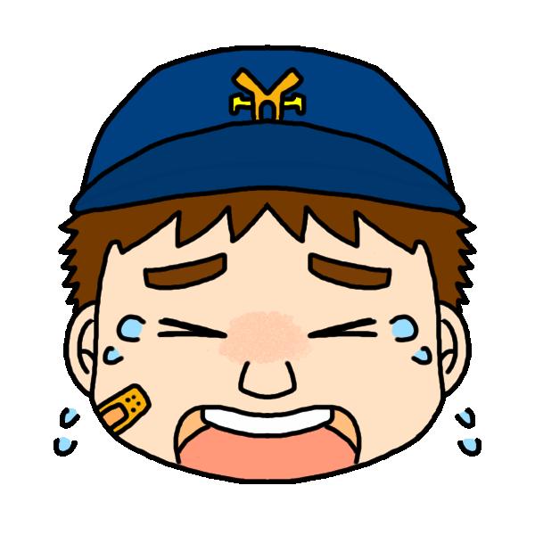 男の子の泣いた顔のイラスト