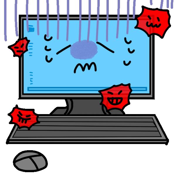 ウイルスにかかったパソコンのイラスト