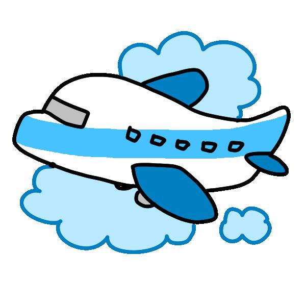 飛行機で旅行のイラスト