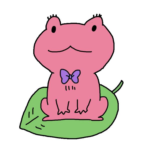 ピンクのカエルのイラスト