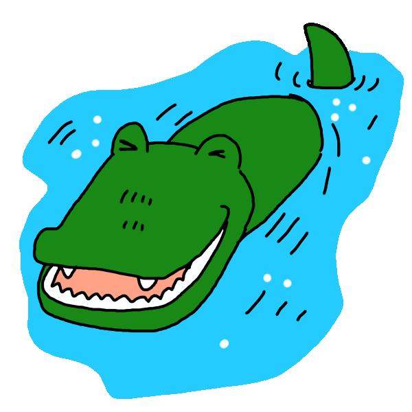 水の中のワニのイラスト