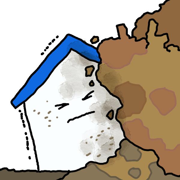 家が土砂崩れ!のイラスト
