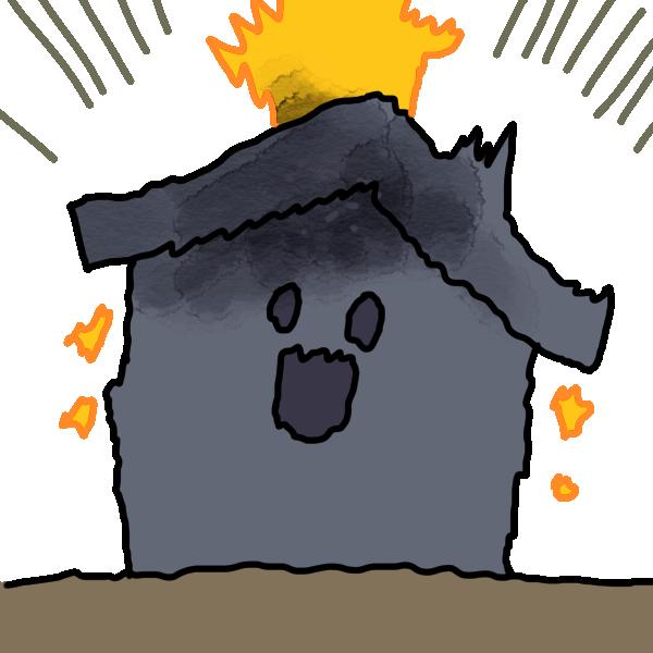 家が落雷!のイラスト