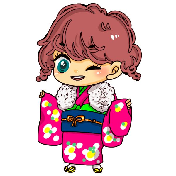 ピンクの着物を着た女の子のイラスト
