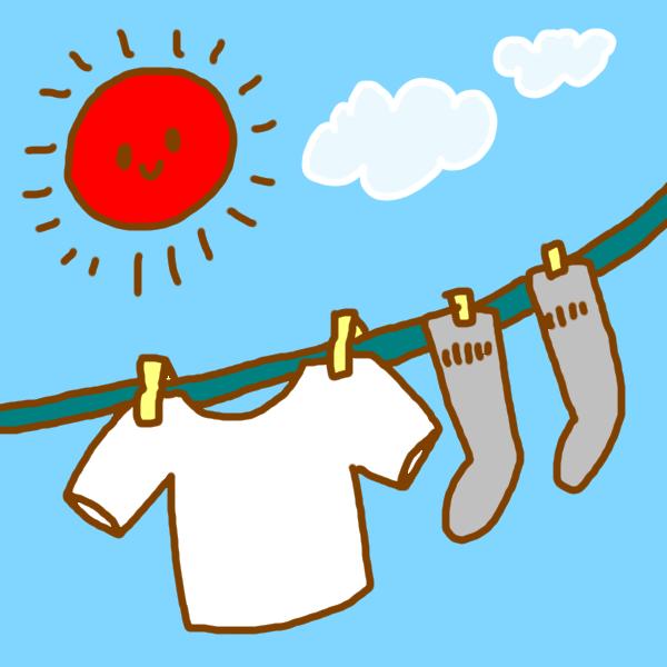 晴れた日の洗濯のイラスト