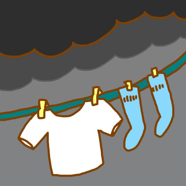 曇った日の洗濯のイラスト