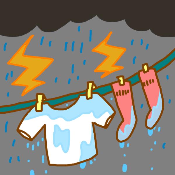 どしゃぶりの日の洗濯のイラスト