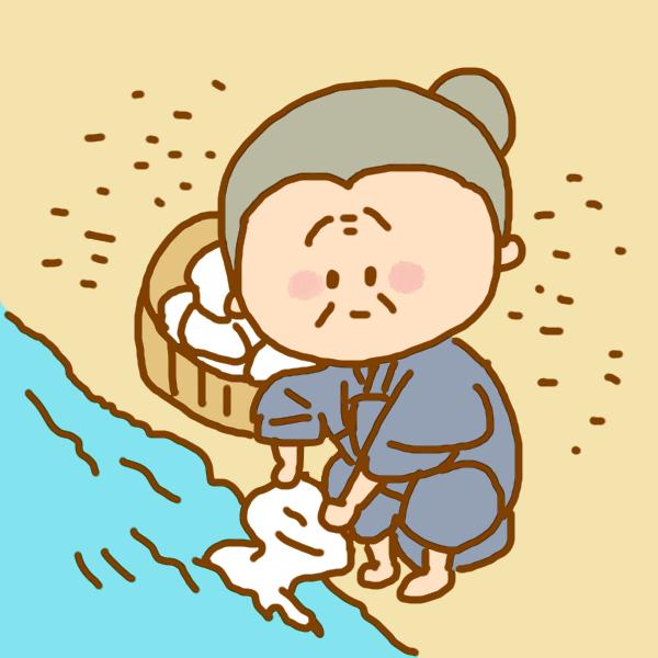 川で洗濯のイラスト