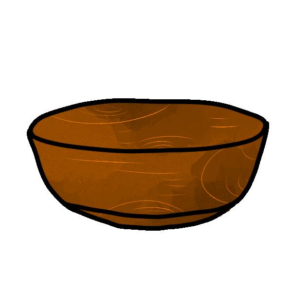 木のサラダボウルのイラスト