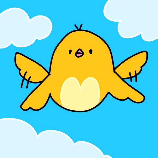 飛んでる黄色の鳥のイラスト
