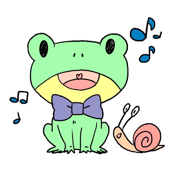 カエルの歌声のイラスト