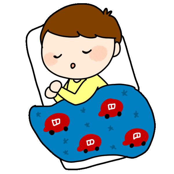 お昼寝する男の子のイラスト