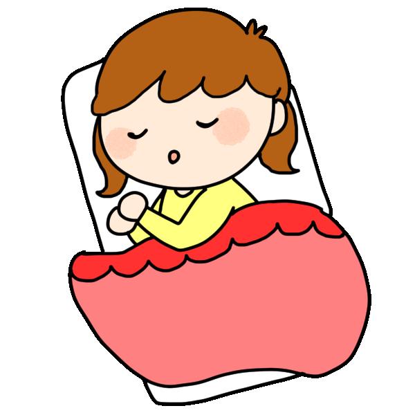 お昼寝する女の子のイラスト