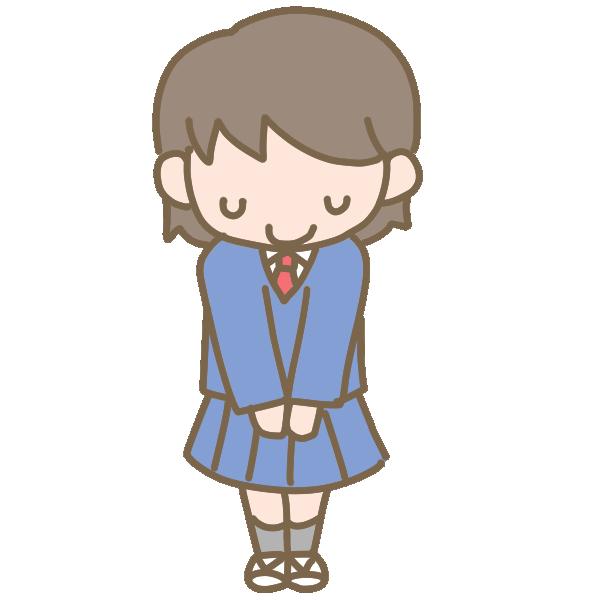 挨拶をする女子生徒(ブレザー)のイラスト