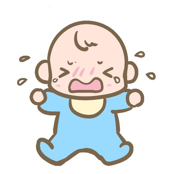 泣く赤ちゃん(男の子)のイラスト